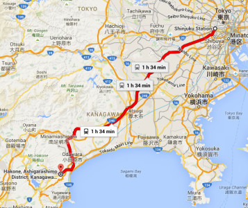 Peta Hakone - Jarak dari Tokyo ke Hakone