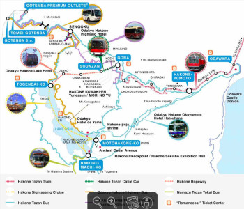 Peta tempat wisata Hakone Jepang